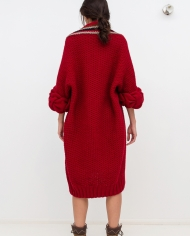 Knitted_red_cardigan_LOOM_with_braids_back