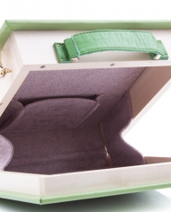 Wooden book-clutch. Pantone color- Greenery 1