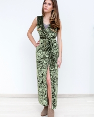 Velvet Wrap Maxi Dress – Olive Green