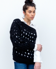 LOOM one shoulder sweater black