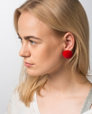 SOMA plusch red round earrings
