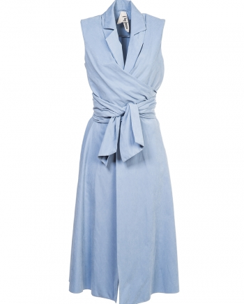 pastel blue wrap dress