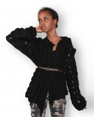 Black weaving cardigan