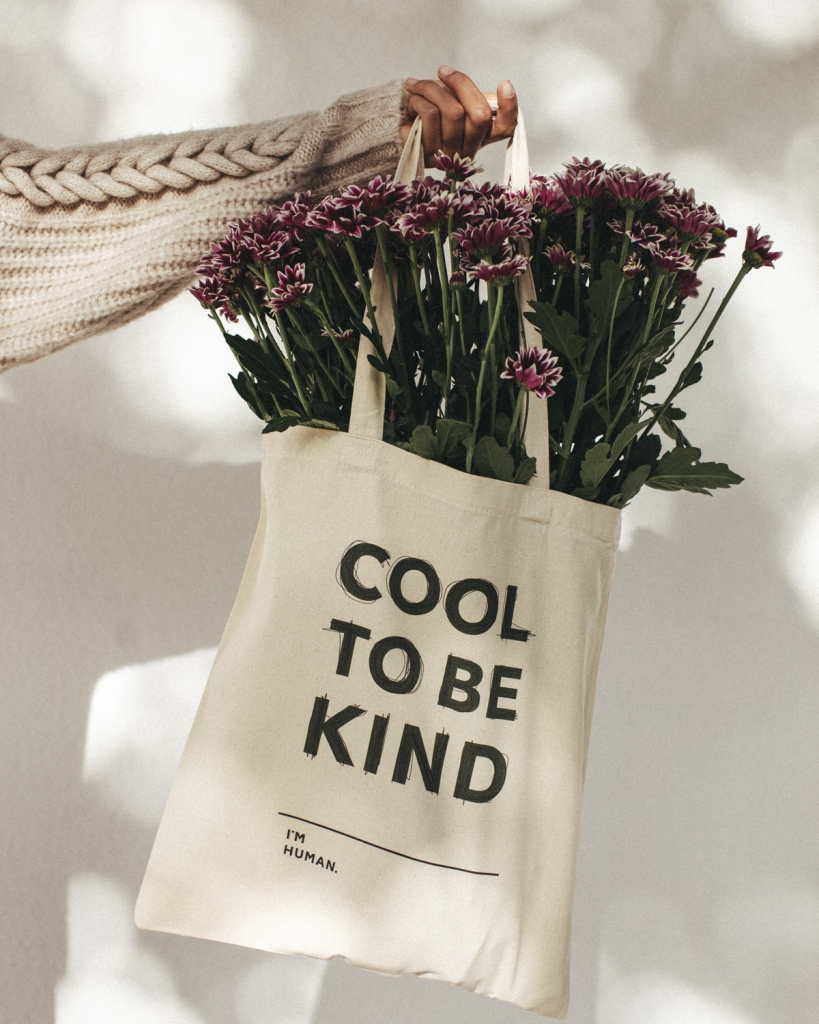 canvas tote bag with flowers