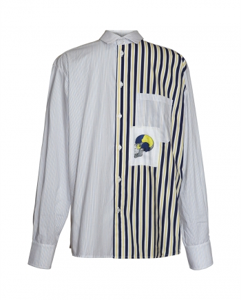 Printed Striped panelled shirt