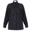 OM Shirt With Bow Tie Collar - Black